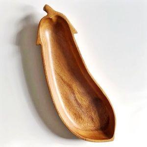 Vintage Teak Wood Eggplant Tray